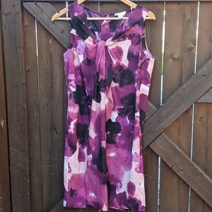 LOFT petites magenta flower print dress